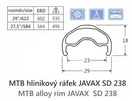 Hliníkový ráfek JAVAX SD238, 29
