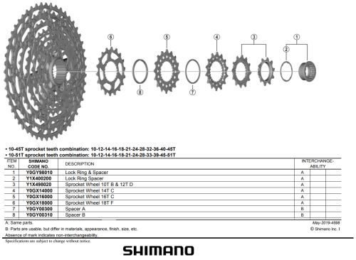 Koło zębate Shimano do CS-M7100 / M8100 - Różne warianty
