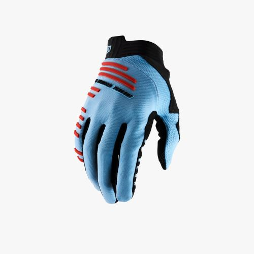 Rukavice 100% R-CORE Gloves Light Blue/Fluo Red