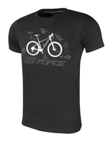 T-shirt FORCE COOL BIKE krótki rękaw, czarny