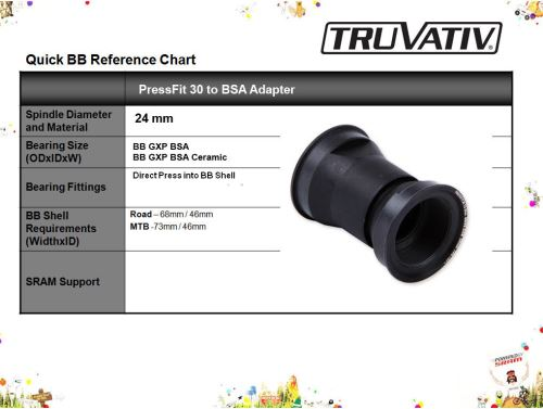 Osa Truvativ PressFit 30 to BSA adapter, 68 or 73mm