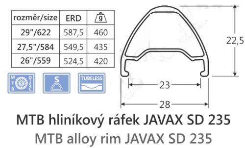 Hliníkový ráfek JAVAX SD235,29