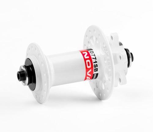 Náboj předni Novatec D771SB + redukce 15mm - DB32RU - Bílá