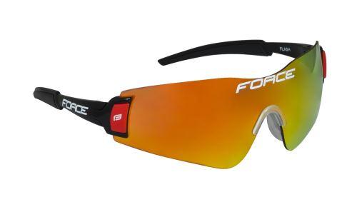Okulary FORCE FLASH, czarne i czerwone, robaki szkło laserowe