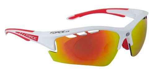 Okulary FORCE RIDE PRO do białego diop.klip, czerwone szkło laserowe